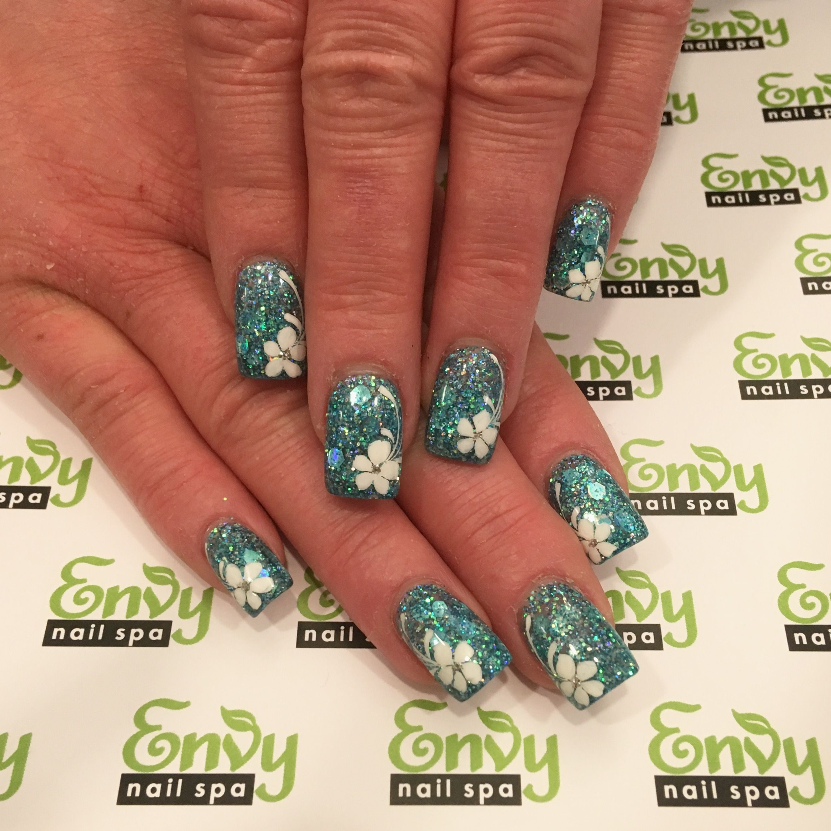 White Flower, Blue Glitter Nails - Envy Nail Spa | Flowers ...