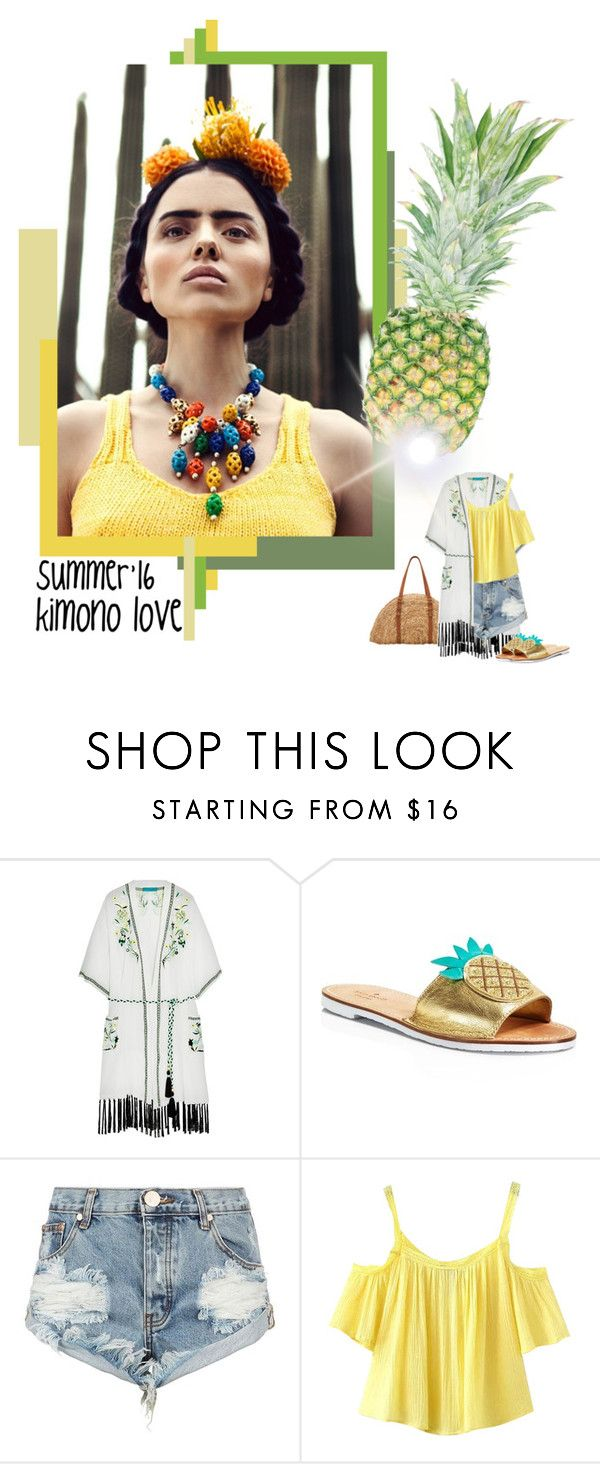 """kimono love for the summer"" by izoche ❤ liked on Polyvore featuring Matthew Williamson, Kate Spade, One Teaspoon, Chicnova Fashion and San Diego Hat Co."