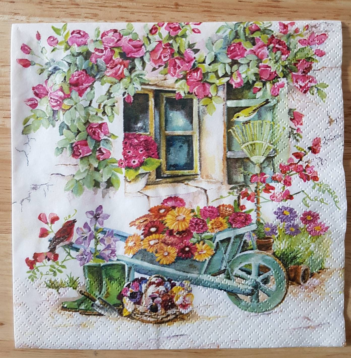Paper Napkins For Decoupage Set of 4 Backyard Garden Square Paper Lunch Napkins Decoupage Crafts Collage Scrapbooking #112 #papernapkins