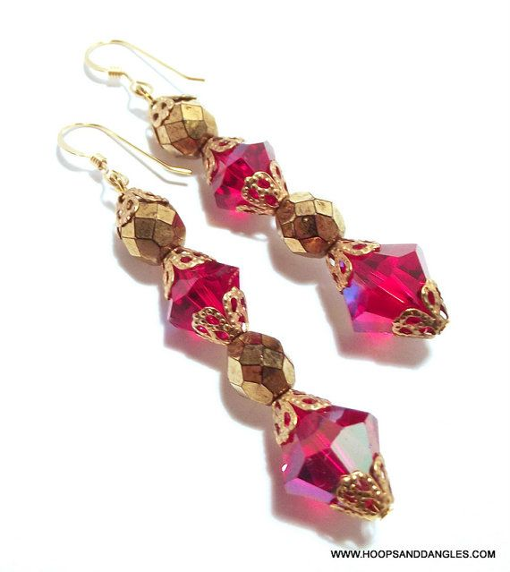 Handcrafted Costume Jewelry Ruby Red Gold by hoopsanddangles