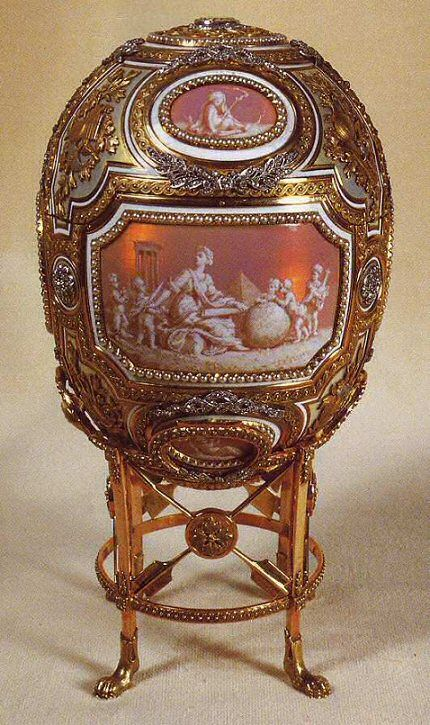 The 1914 Catherine the Great Egg, given by Tsar Nicholas II to his mother Empress Marie Feodorovna. The surprise, a sedan chair with two bearers, has been lost.