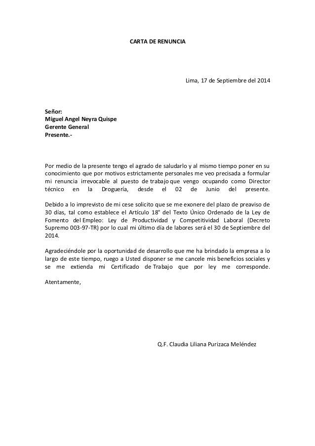 CARTA DE RENUNCIA Lima, 17 de Septiembre del 2014 Señor: Miguel ...