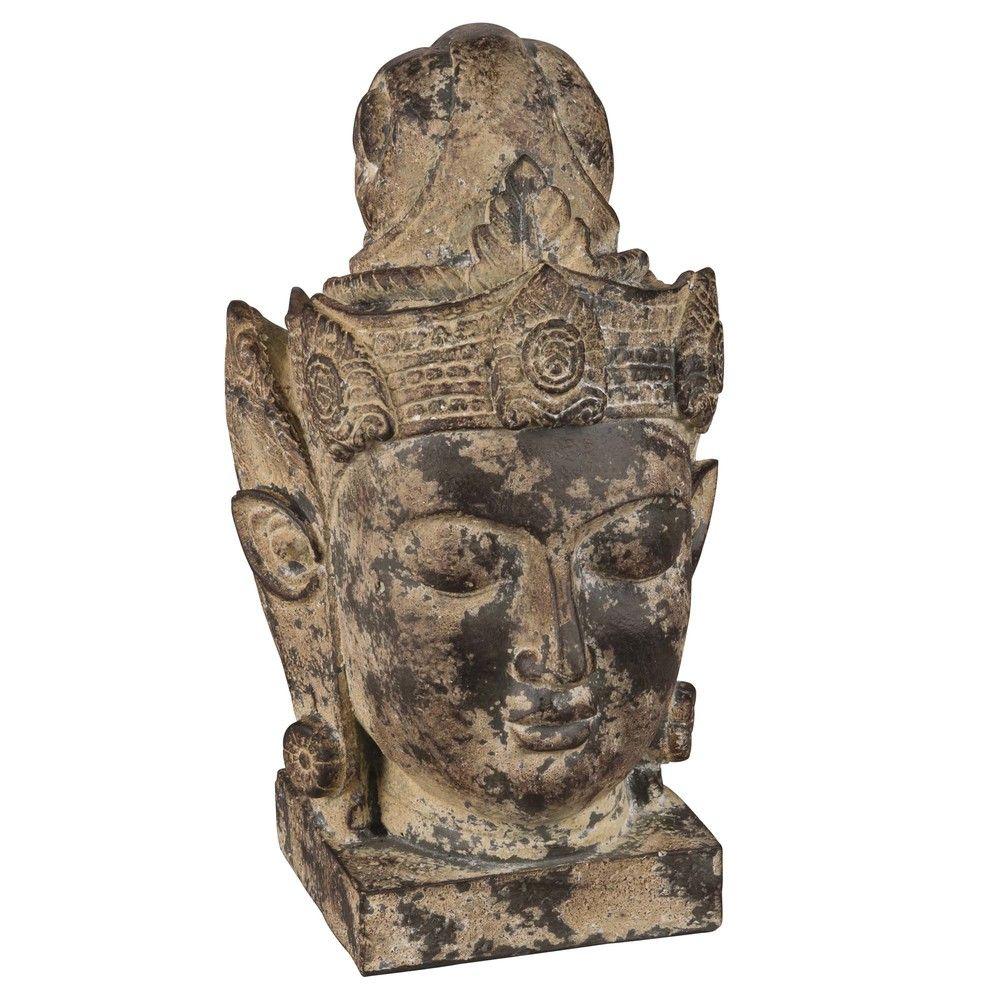 Statuette Tete De Bouddha En Ciment H34 Objekte Zement Keramik