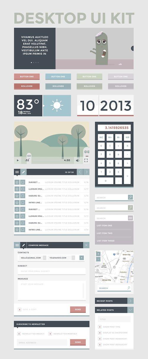 Desktop UI Kit Free PSD File #freepsdfiles #mockups #templates