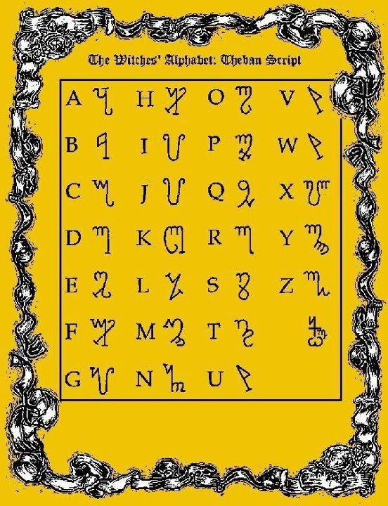 Witches Alphabet For Other Magical Alphabets And Symbols Or Codes