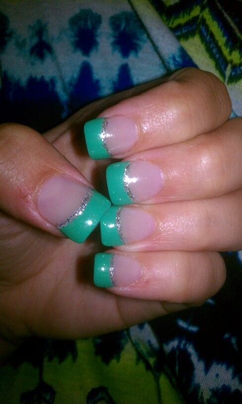 Acrylic nails Turquoise/teal /green french tip #girlscouts ...