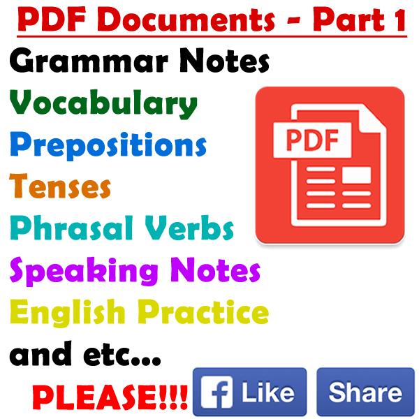 English Prepositions, Verbs, Adjectives, Adverbs Materials – Pdf ...