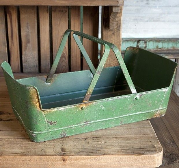 Gentil Green Metal Garden Basket