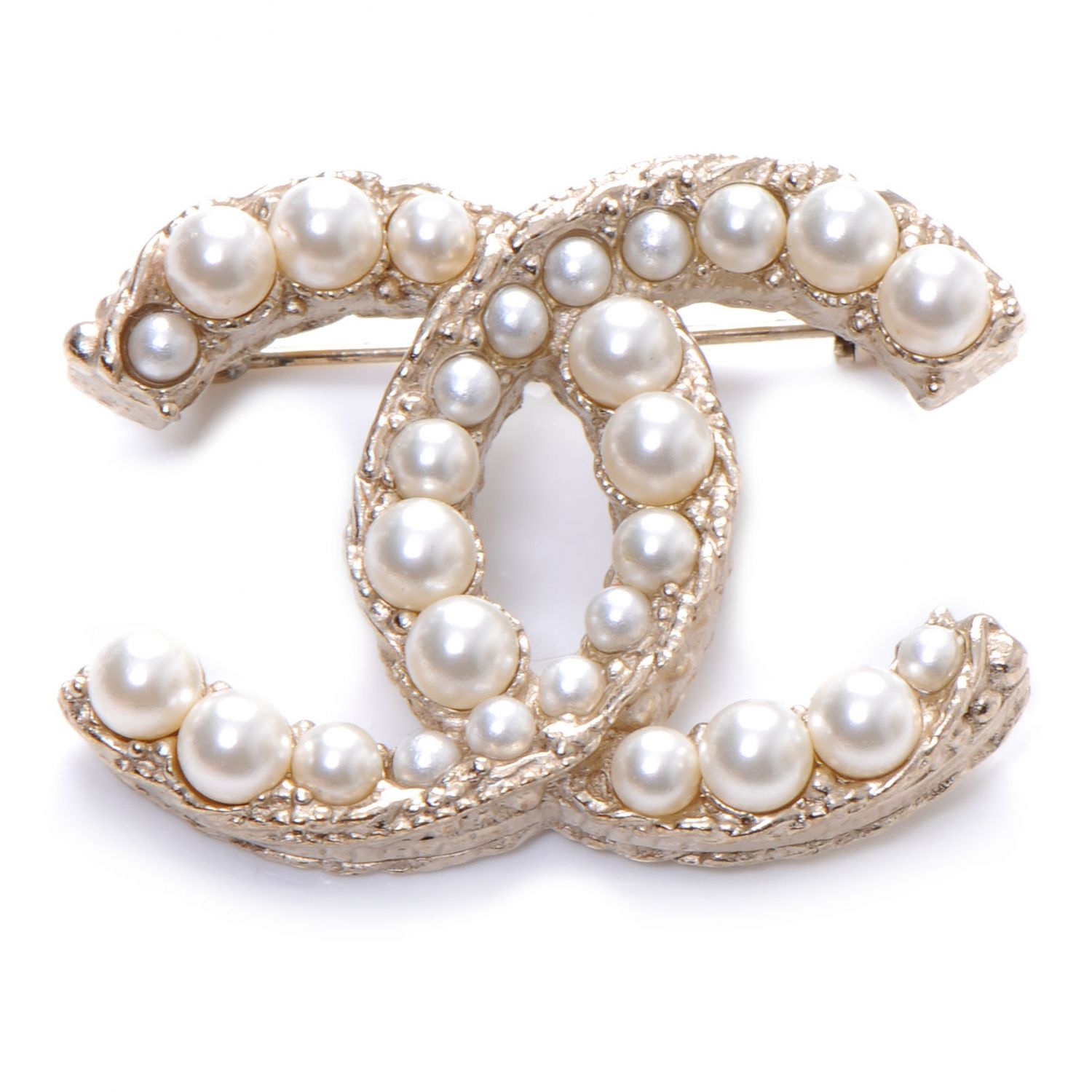 chanel gold preloved brooch authentic cc the in soft finer product pearl