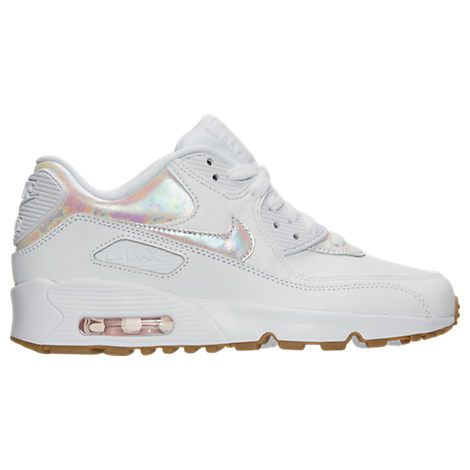 Girls' Grade School Nike Air Max 90 Leather Running Shoes - 897987  897987-101