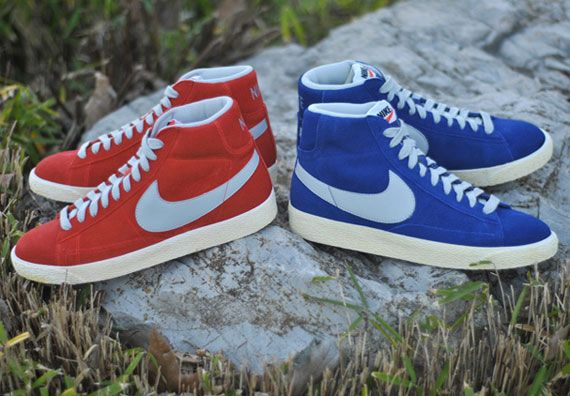 womens nike blazer blue red