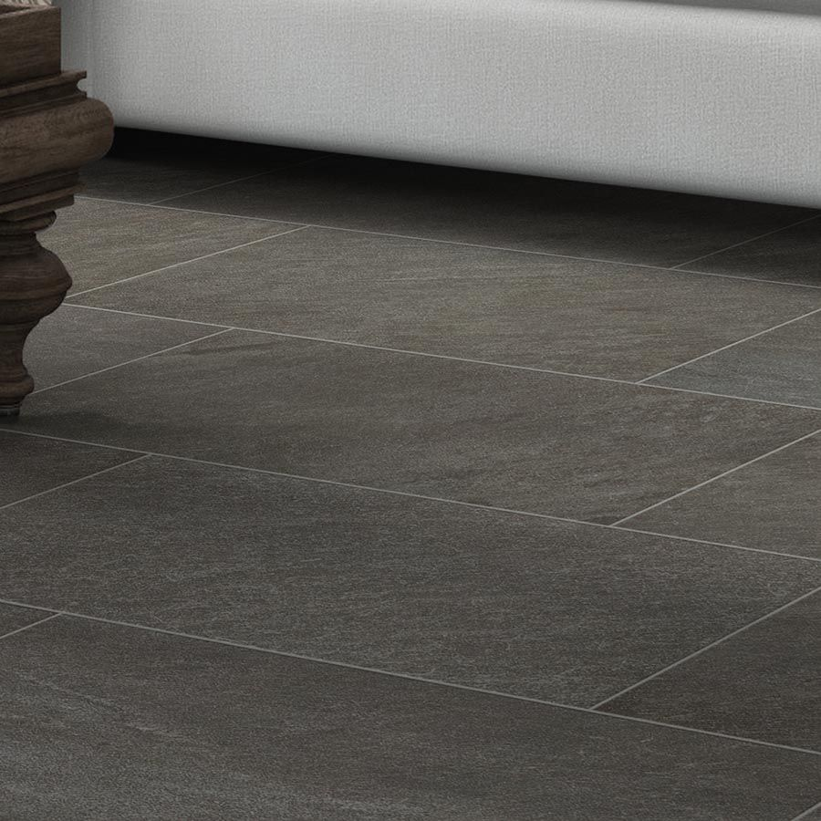 Style Selections Galvano Charcoal 12 In X 24 In Glazed Porcelain Granite Stone Look Floor And Wall Tile Lowes Com Granite Flooring Charcoal Bathroom Flooring