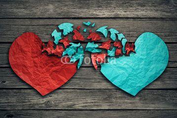Romantic relationship concept two hearts exchange feelings