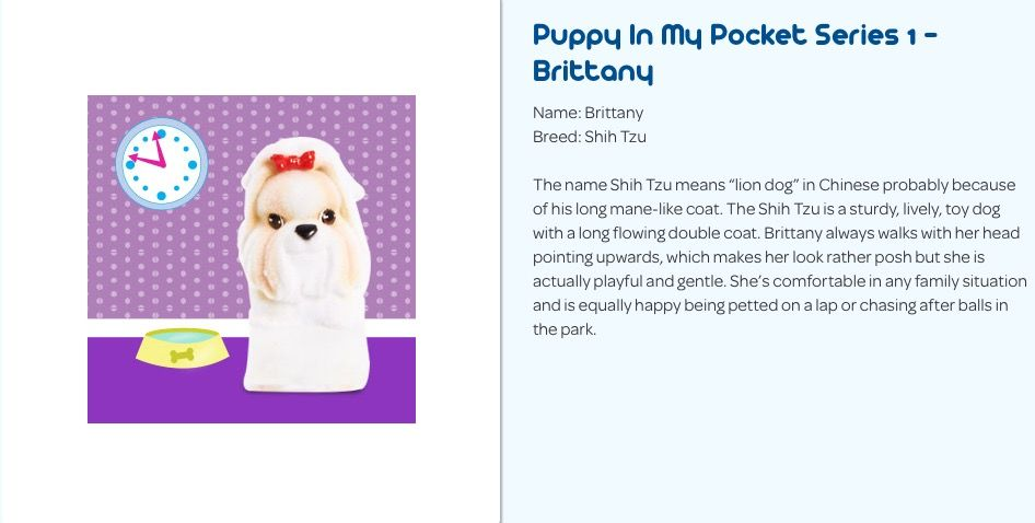 Puppy In My Pocket Series 1 Brittany The Shih Tzu With Images