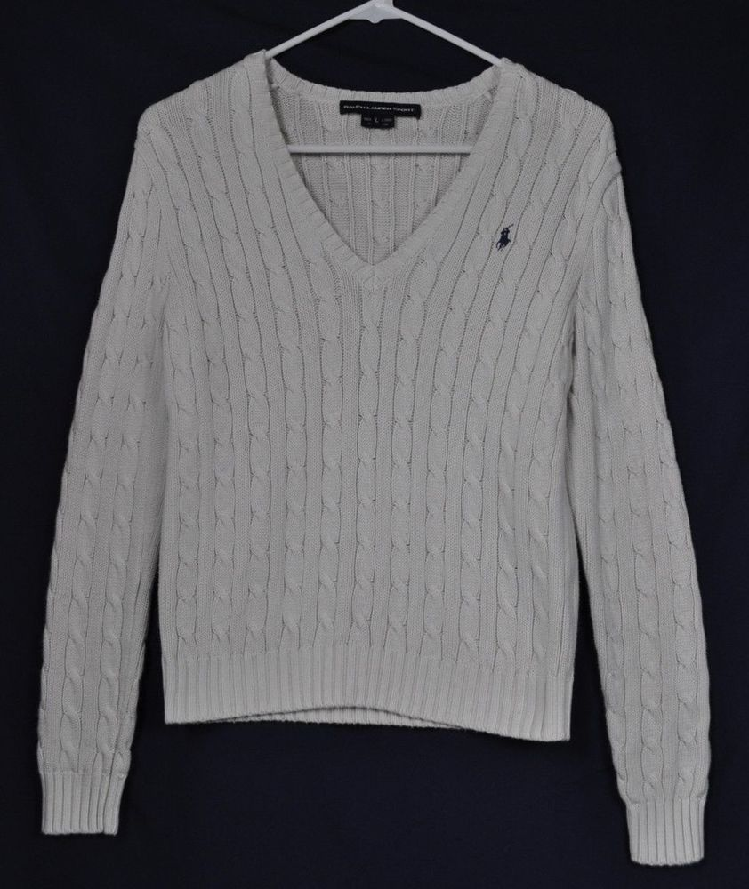 POLO RALPH LAUREN Cream White Cable Knit V-Neck Sweater Juniors ...