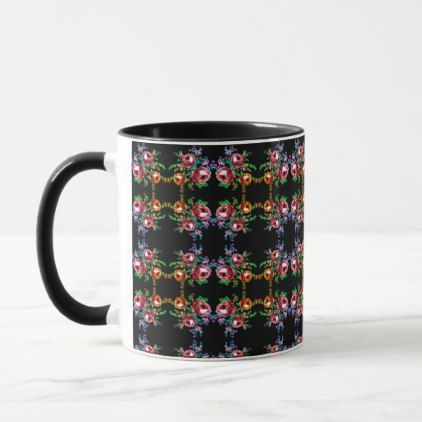 Colorful Fancy Roses Floral Bouquet Coffee Mug   Floral Gifts Flower  Flowers Gift Ideas