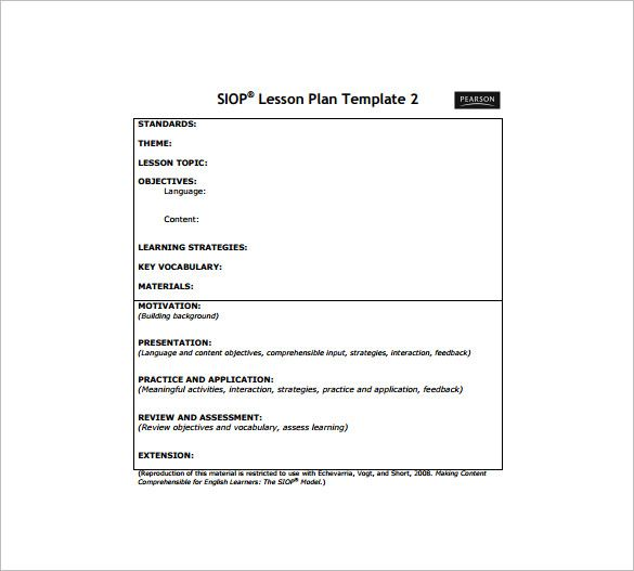 Siop Lesson Plan Template - Free Word PDF Documents Download - sample lesson plan