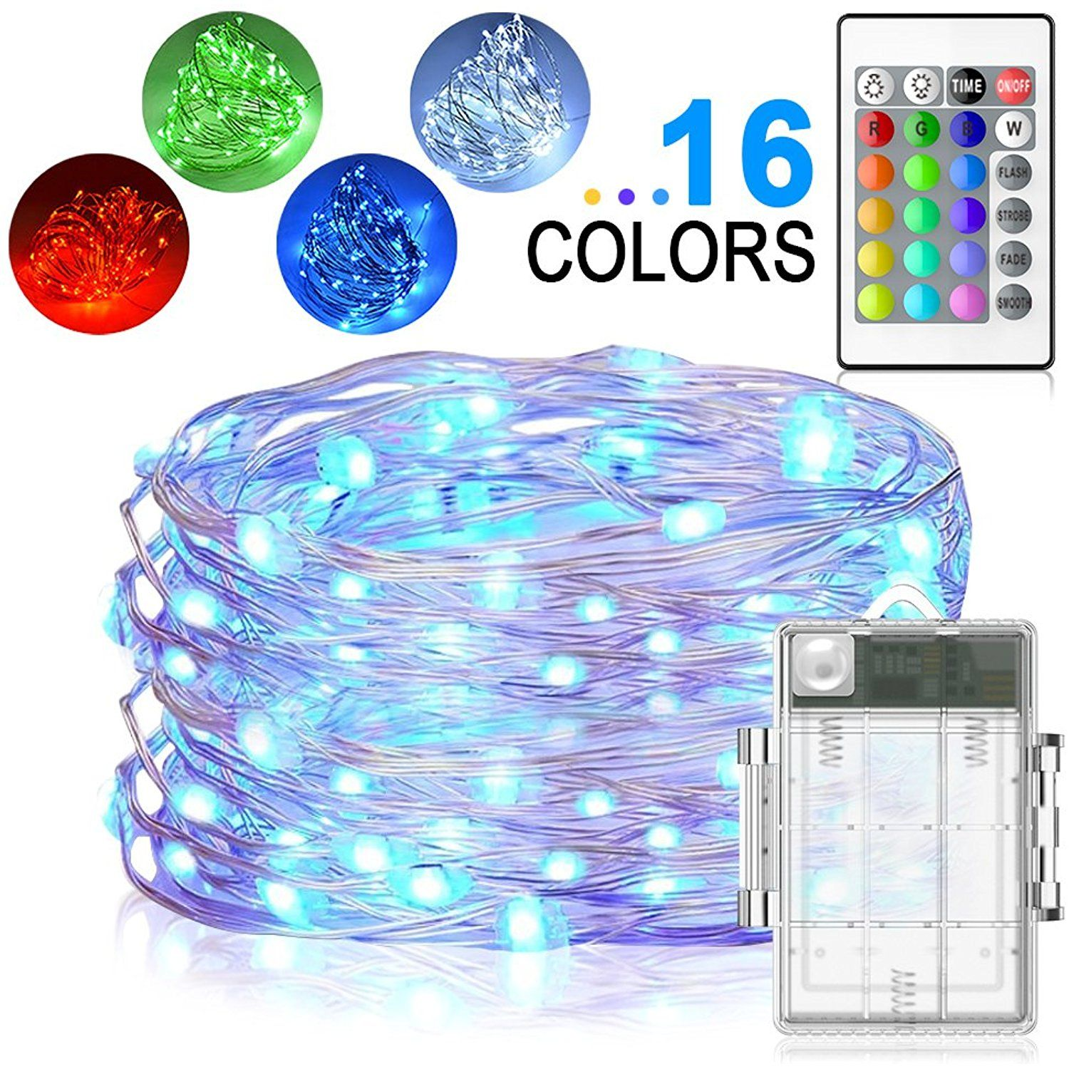 Led string lights yoozon 16ft 50 leds fairy lights battery operated led string lights yoozon 16ft 50 leds fairy lights battery operated waterproof 16 colors outdoor aloadofball Image collections