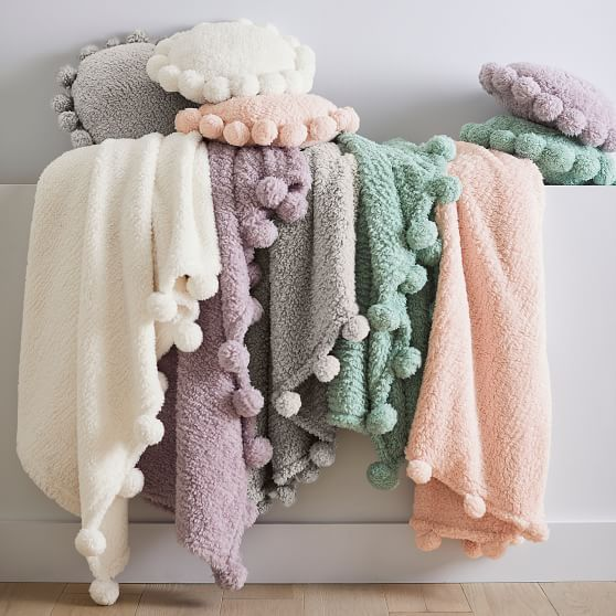 Cozy Pom Recycled Sherpa Throw