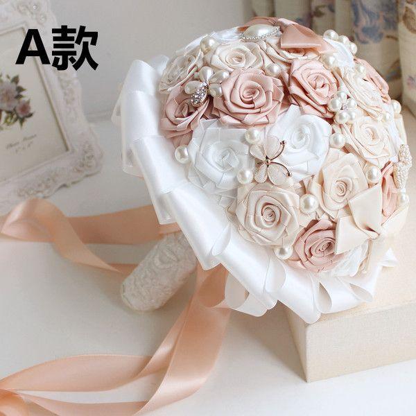 包郵珍珠水鑽手工新娘手捧花定製婚慶緞帶玫瑰花伴娘韓式成品捧 33457