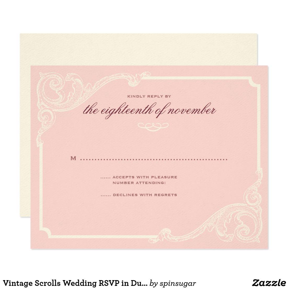 Vintage Scrolls Wedding RSVP in Dusty Rose 2 Card | Wedding rsvp ...