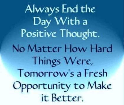 Tomorrow is a fresh start...