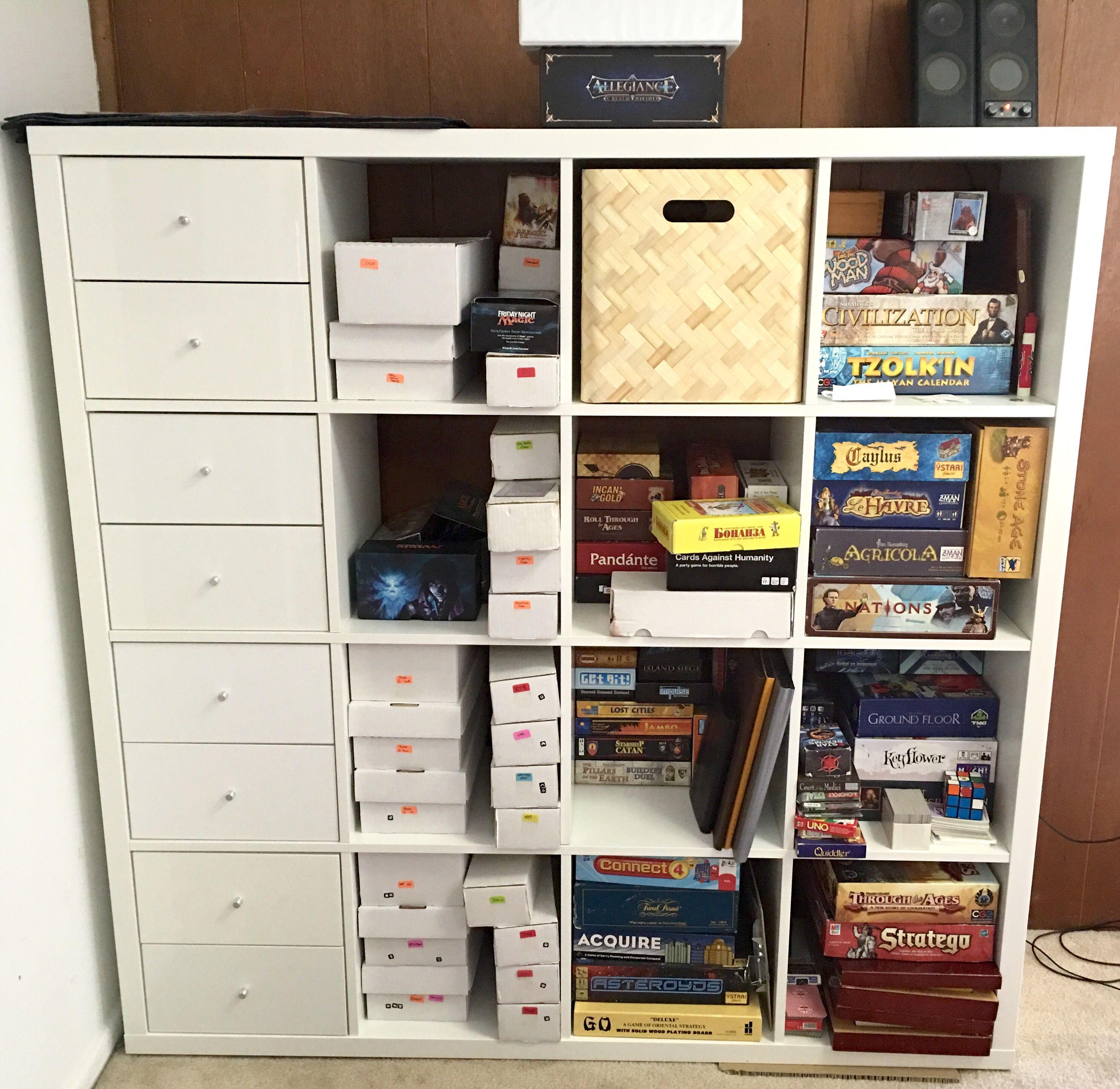 Board Game Shelves And Magic The Gathering Card Storage In Our Apartment!  IKEA   Kallax 4 X 4 IKEA   Kallax Drawers