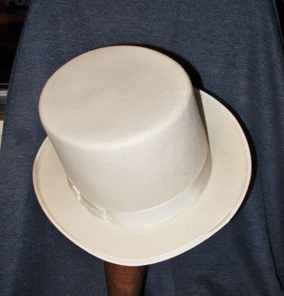 Rare Unusual Dorfman Pacific 100% White Wool Felt Top Hat Medium USA EUC #DorfmanPacific #TopHat