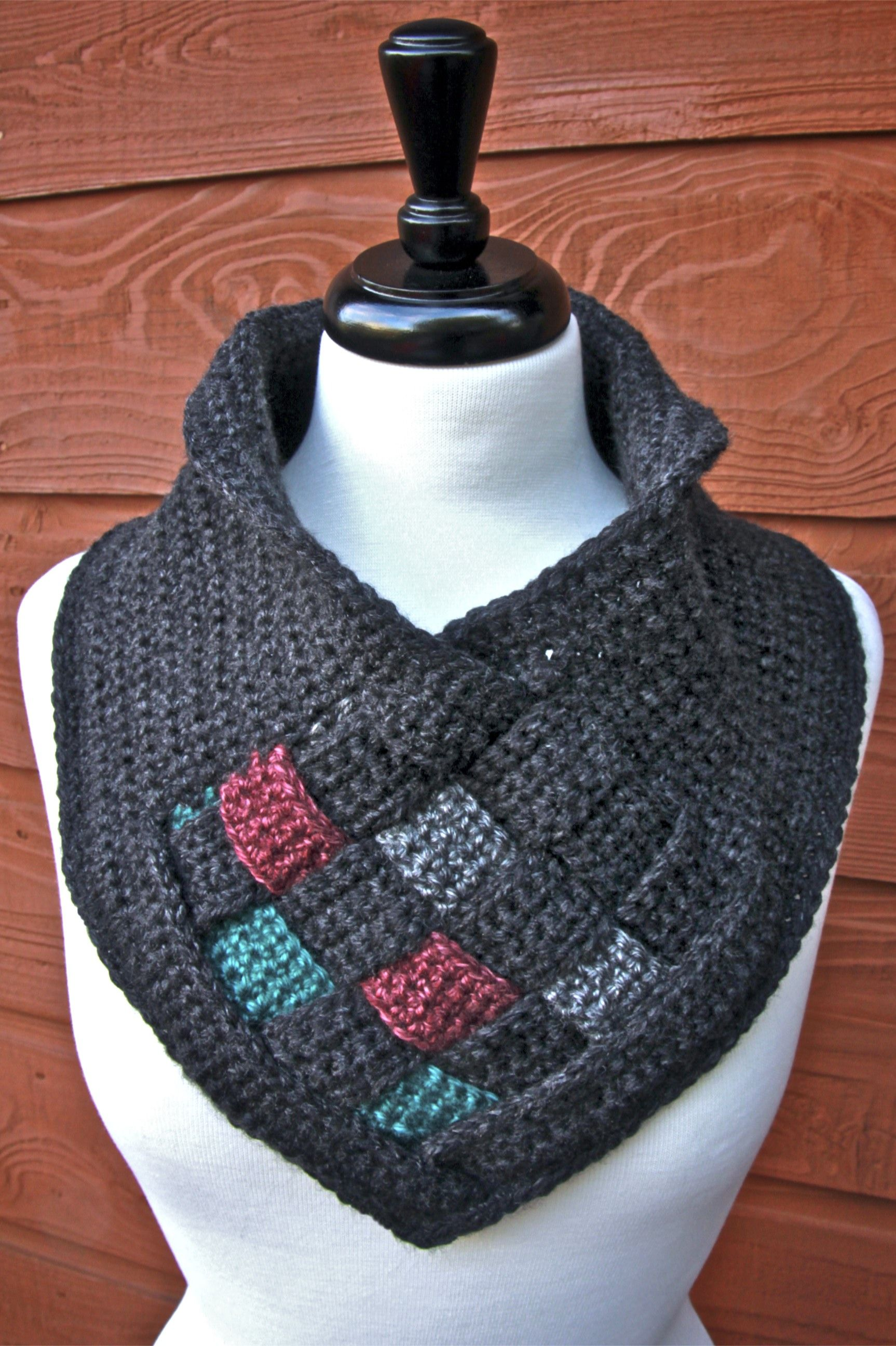 Here is a a free crochet pattern for a lovely cowl with a woven ...
