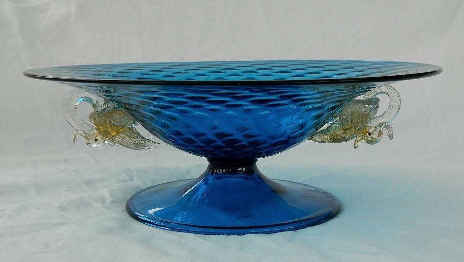 Venetian Salviati Barovier Quilted Blue Swan Pedestal Bowl Antique Glass 1800s