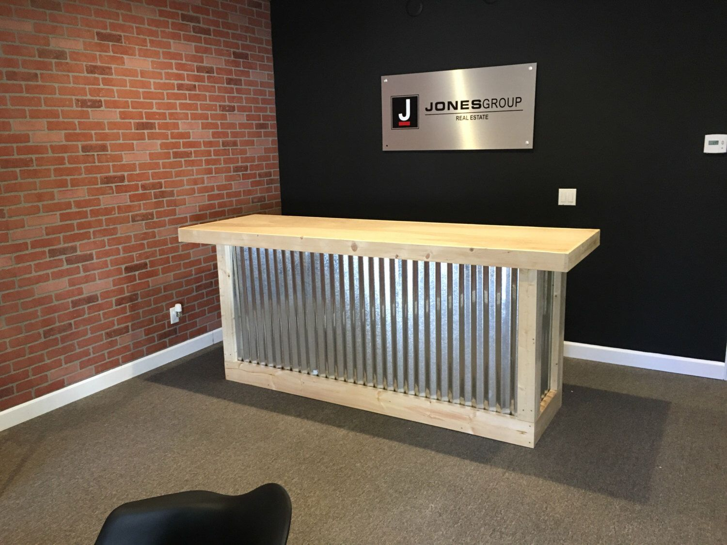8 Foot Corrugated Metal Bar Sales Counter Reception Desk