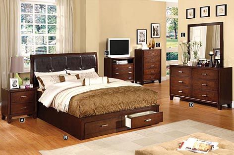 A M B Furniture Design Bedroom Sets Wood Bed Platform 5 Pc Enrico Iii Contemporary Style Storage