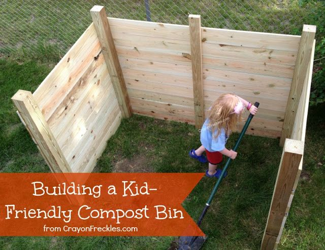 Plans for a DIY Compost Bin with Kids    includes building plans and supply list
