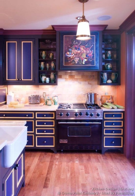 Two Tone And Open Cabinets Simple Kitchen Design Purple Kitchen Cabinets Kitchen Inspirations