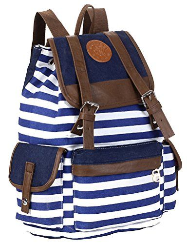 Unisex Fashionable Canvas Backpack School Bag Super Cute Stripe ...