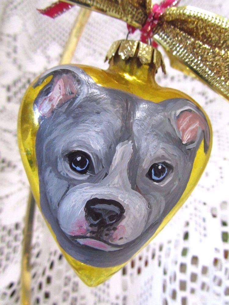 pit bull terrier hand painted christmas ornament decoration original art blue