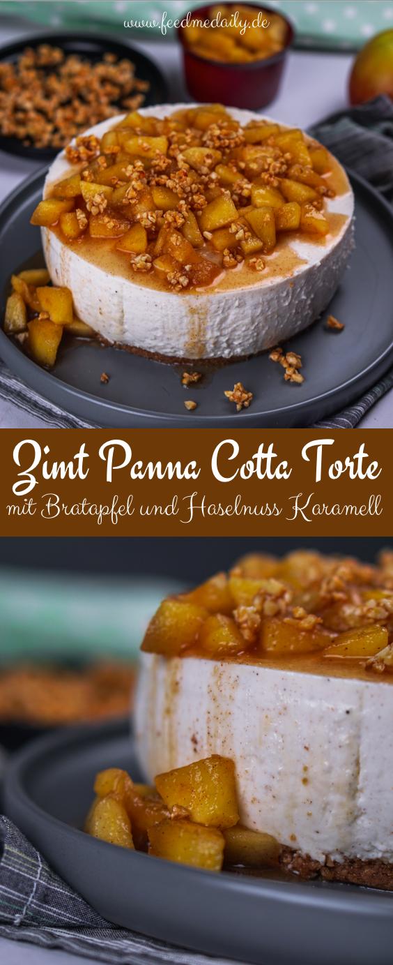 Zimt Panna Cotta Torte mit Bratapfel und Haselnuss Karamell - DAS weihnachtliche Dessert! #nachtischweihnachten