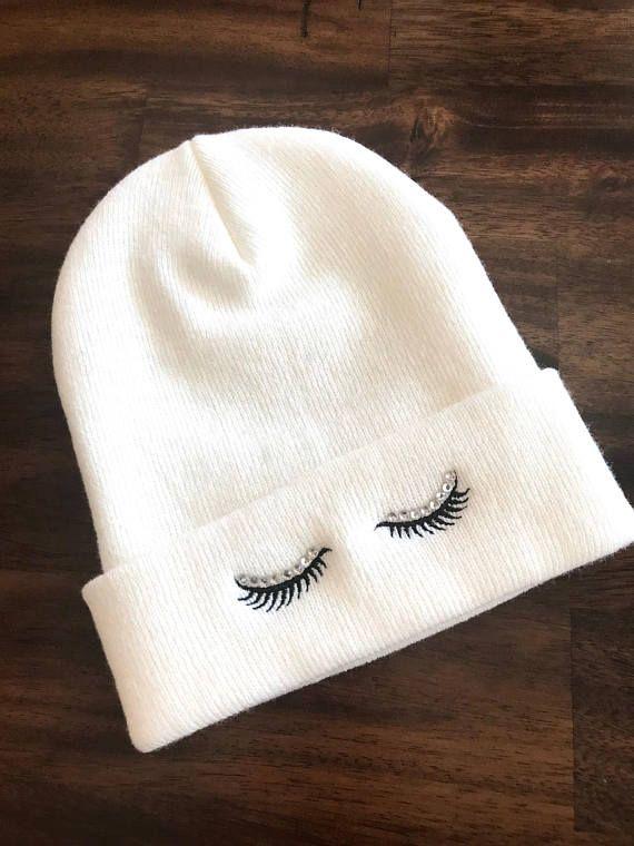 945dcdd60 Rhinestone EYELASHES Beanie Embroidered Slouchy Hat Winter Seasonal ...