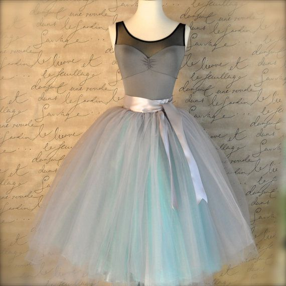 Dove gray and light blue tutu skirt for women. Ballet glamour. Retro look tulle skirt. Also shown in dove grey/pink