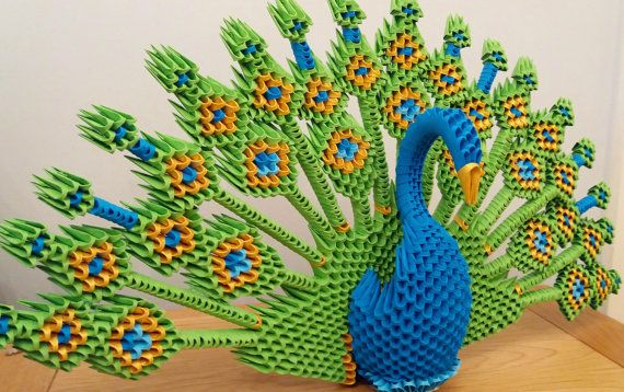 origami 3d pavo real