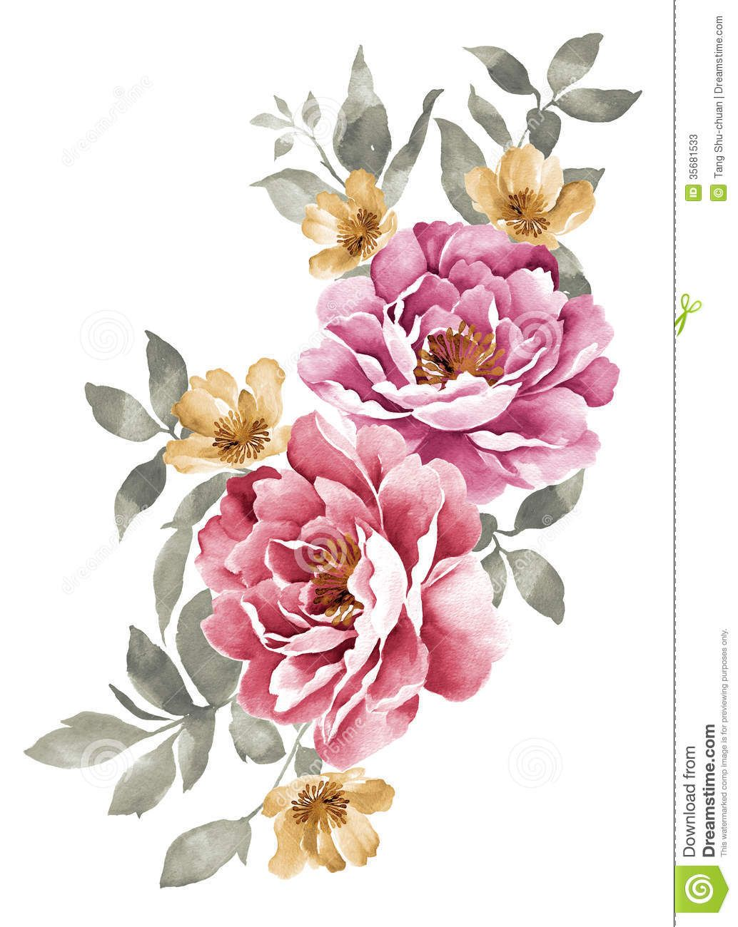 Watercolor illustration flowers buscar con google for Watercolor flower images