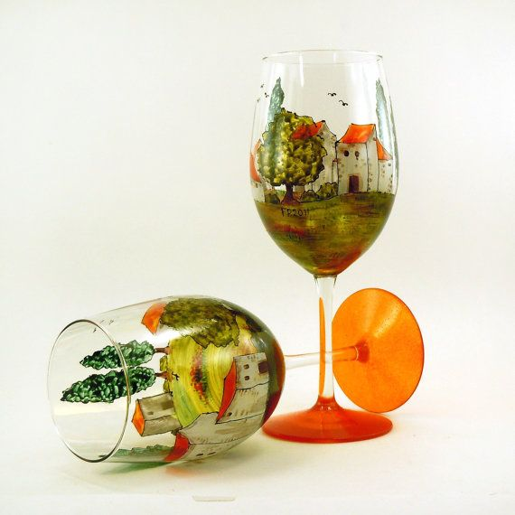Hand painted glasses, Village Provencal Collection
