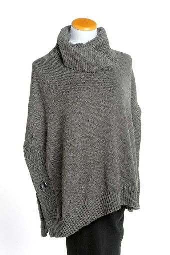 Old Navy's versatile funnel neck poncho has open sides with button closures and can be worn dressed up or dressed down. Shown in graphite heather. Also in black. Old Navy, multiple area locations. Oldnavy.com.