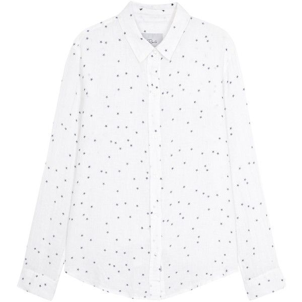 6e9ccfed Rails Sydney Star-print Linen Blend Shirt - Size XS ($185) ❤ liked on Polyvore  featuring tops, linen blend shirt, white shirt, round hem shirt, shirt top  ...