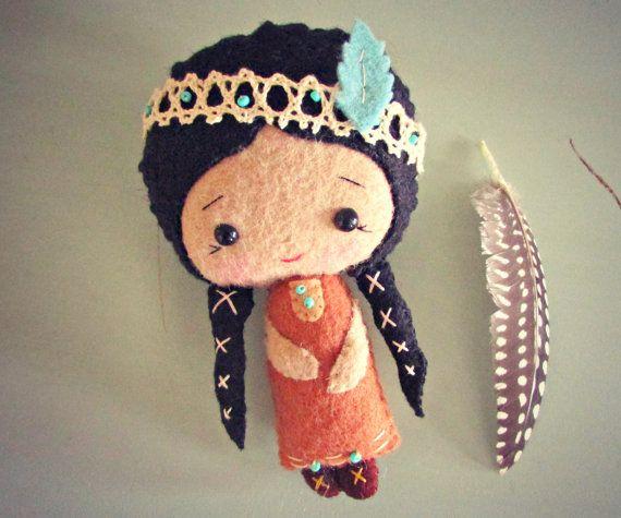 Native American Doll - Felt Doll - Small Doll - Girls Toy #americandolls