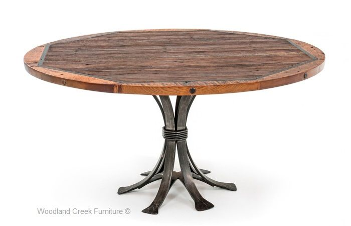 round barn wood dining table this beautiful round barn wood dining rh pinterest com