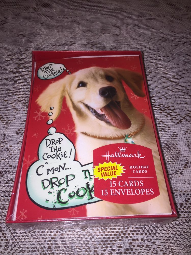 Hallmark Boxed Christmas Cards puppy cookie 15 Holiday Cards NEW