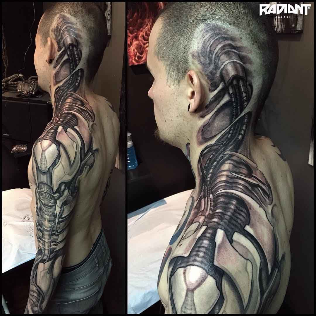head to shoulder sleeve biomechanical tattoo biomechanical tattoo pinterest biomechanical. Black Bedroom Furniture Sets. Home Design Ideas