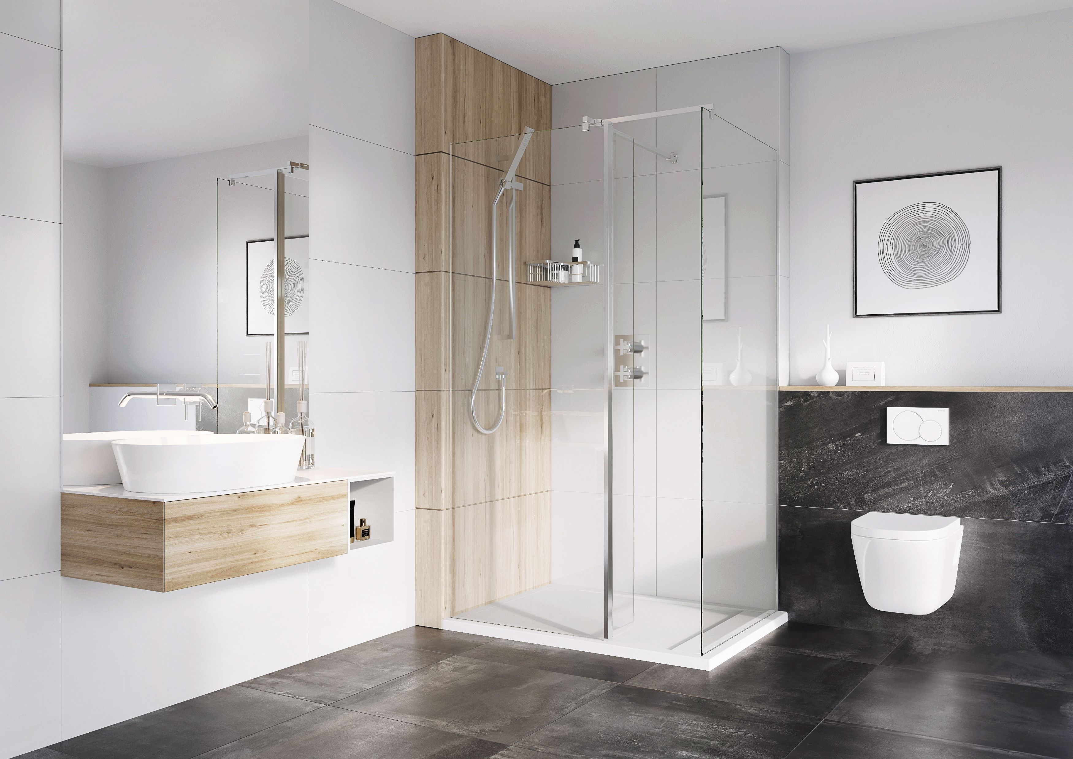 Select Wetroom Panels for Walk-in Shower Enclosure #grey #wood ...
