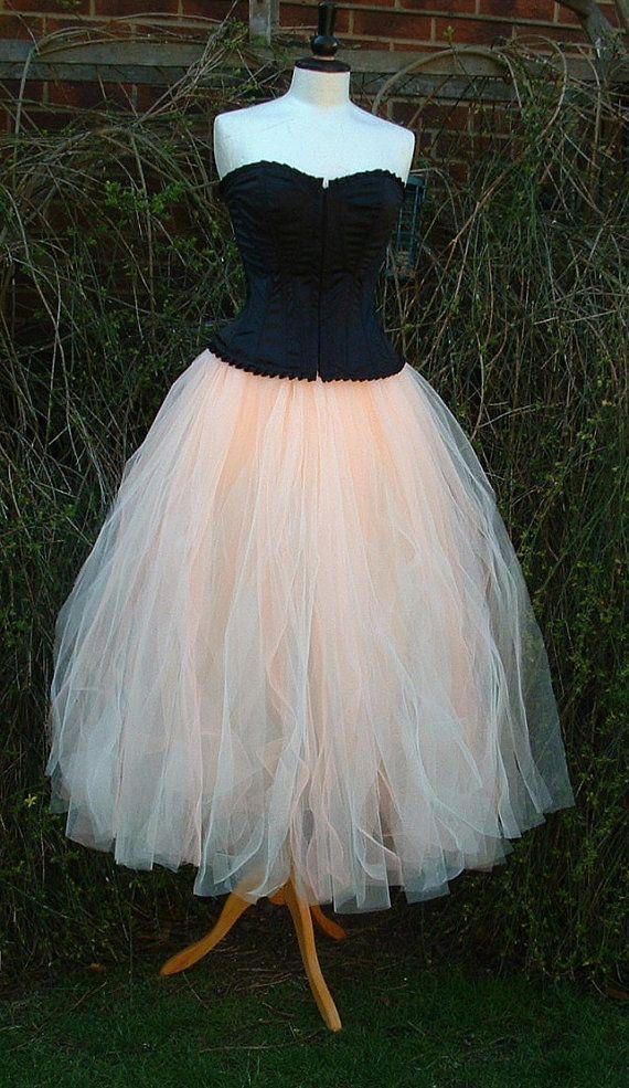 e27e86e9c4 ladies adult tutu skirt long cream peach tulle by darkestdreams ...